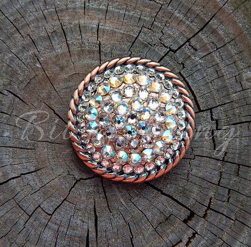 Copper Round Rope Edge Concho - Silk & Silk Shimmer