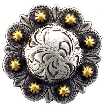 Antique Silver & Gold Round Berry Concho