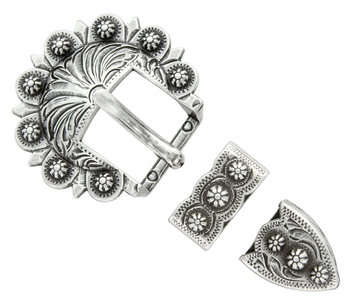 Antique Silver Berry 3pc Buckle