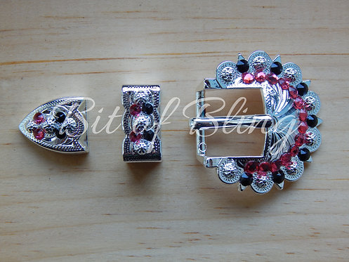 Shiny Silver Berry 3pc Buckle - Jet & Indian Pink