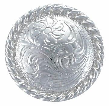 Shiny Silver Round Rope Edge Concho