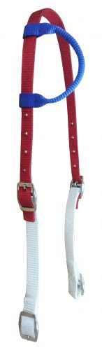 Red, White & Blue One Ear Nylon Headstall
