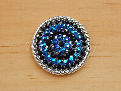 Shiny Silver Round Rope Edge Concho - Jet & Jet Shimmer