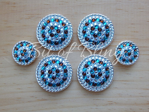 Shiny Silver Round Rope Edge Saddle Set - Crystal, Blue Zircon, Smoke Topaz