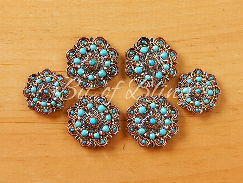 City Slicker Turquoise & Rose Gold Saddle Concho Set