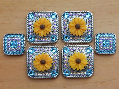 Yellow Daisy Saddle Set - Aquamarine & Crystal AB