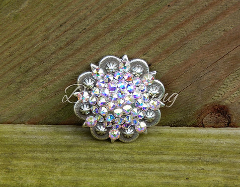 Antique Silver Round Berry Concho - Crystal AB