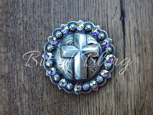 Antique Silver Round Berry Cross Concho - Crystal AB