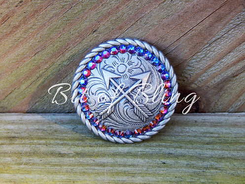 Antique Silver Round Rope Edge Arrows Concho - Blue Volcano