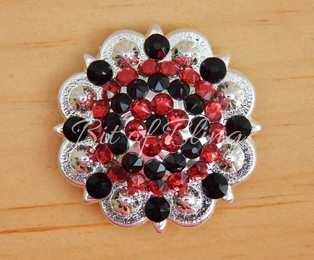 Shiny Silver Round Berry Concho - Jet & Scarlet