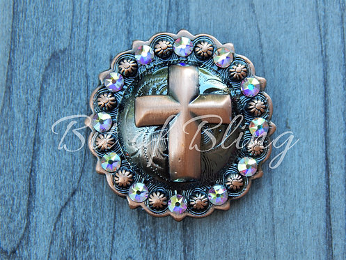 Copper Round Berry Cross Concho - Crystal AB