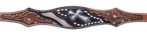 Silver & Teal Cross Wither Strap