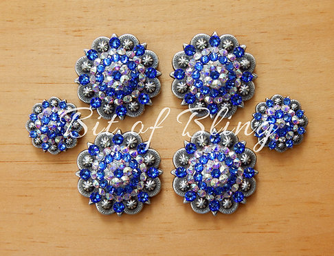 Antique Silver Round Berry Saddle Set - Sapphire & Crystal AB