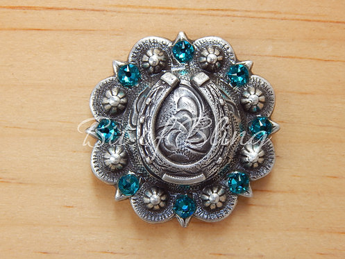 Antique Silver Round Berry Horseshoe Concho