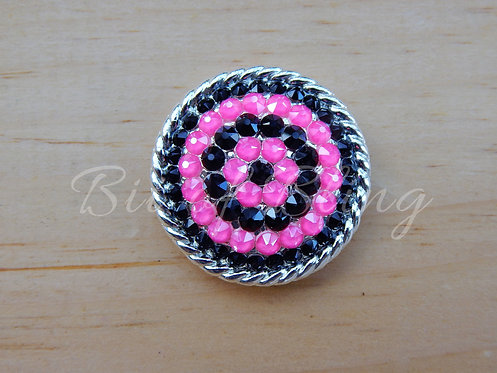 Shiny Silver Round Rope Edge Concho - Jet & Electric Pink