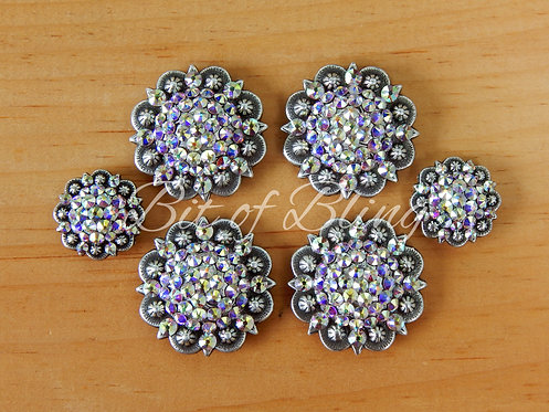 Antique Silver Round Berry Saddle Concho Set - Crystal AB