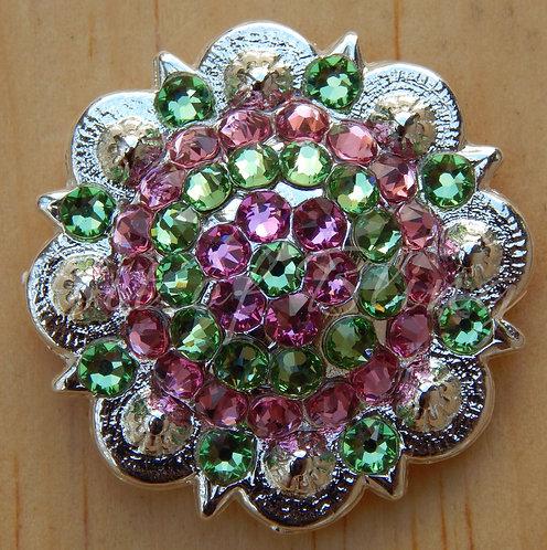 Shiny Silver Round Berry Concho - Rose & Peridot