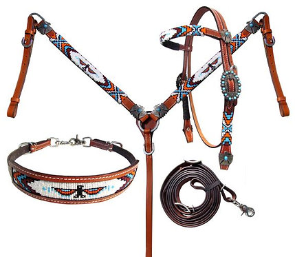 4pc Beaded Thunderbird Tack Set