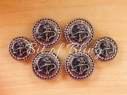 Copper Round Rope Edge Cowgirl Saddle Concho Set - Rose Gold