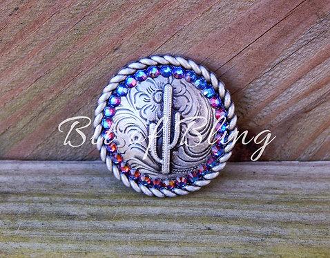 Antique Silver Round Rope Edge Cactus Concho - Blue Volcano