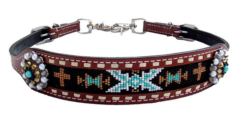 Navajo Cross Beaded Wither Strap