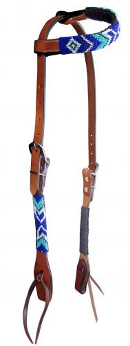 Royal Blue/Turquoise/White Arrow Beaded One Ear Leather Headstall