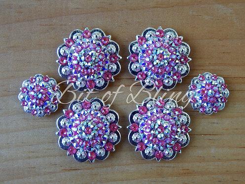 Shiny Silver Round Berry Saddle Concho Set - Lotus Pink Delite & Crystal AB