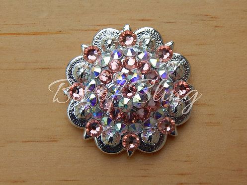 Shiny Silver Round Berry Concho - Rose Peach & Crystal AB