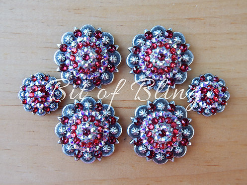 Antique Silver Round Berry Saddle Set - Scarlet & Crystal AB