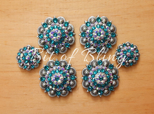 Antique Silver Round Berry Saddle Set - Blue Zircon& Crystal AB