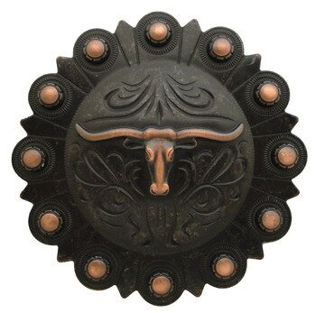 Rustic Copper Round Berry Longhorn Concho
