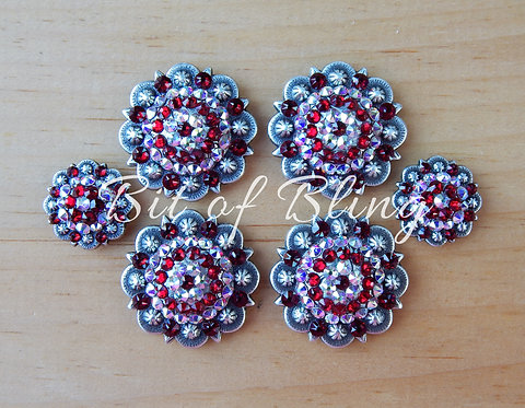 Antique Silver Round Berry Saddle Set - Siam& Crystal AB