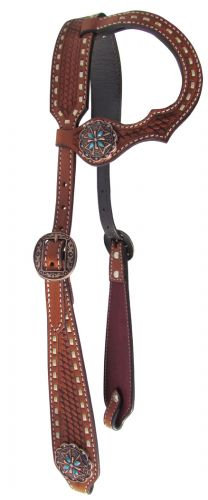 Copper & Turquoise Tooled Leather One Ear Headstall