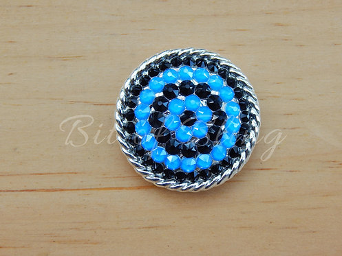 Shiny Silver Round Rope Edge Concho - Jet & Electric Blue