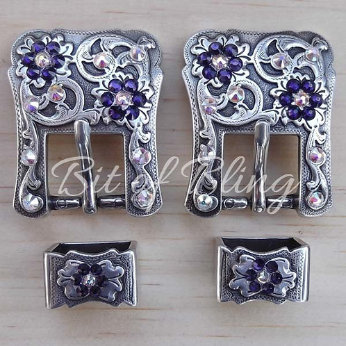 Antique Silver 2pc Western Buckle (Pair) - Purple Velvet & Crystal AB