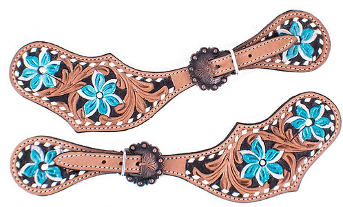 Turquoise Flower Spur Straps