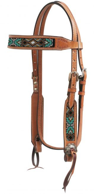 Beaded Leather Headstall #13742