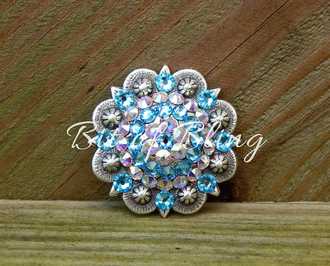 Antique Silver Round Berry Concho - Aquamarine & Crystal AB