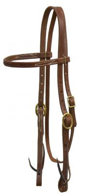 Barbwire Tooled Oiled Harness Leather Browband Headstall