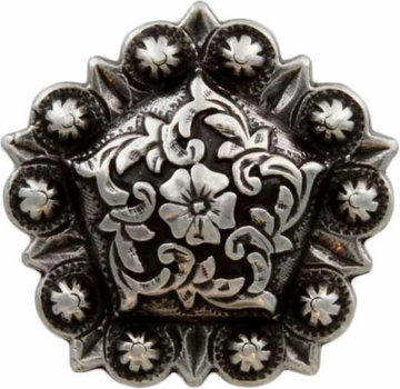 Antique Silver Floral Pentagon Berry Concho