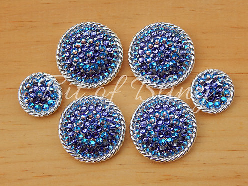 Shiny Silver Round Rope Edge Saddle Set - Tanzanite & Tanzanite Shimmer