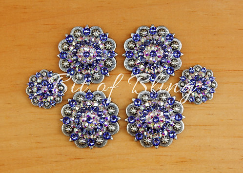 Antique Silver Round Berry Saddle Set - Tanzanite & Crystal AB