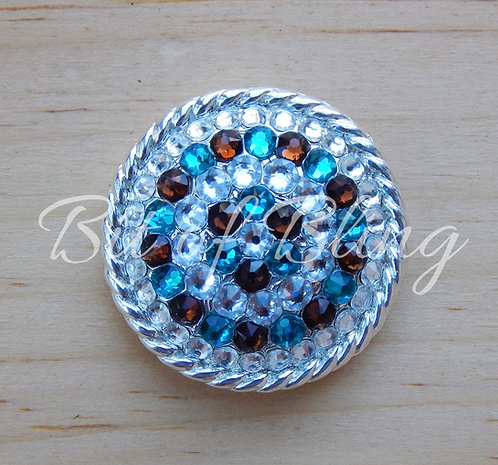 Shiny Silver Round Rope Edge Concho - Crystal, Blue Zircon, Smoke Topaz