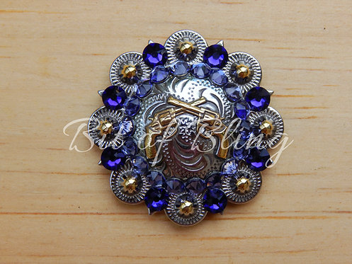 Silver & Gold Crossed Pistols Round Berry Concho - Purple Velvet & Tanzanite