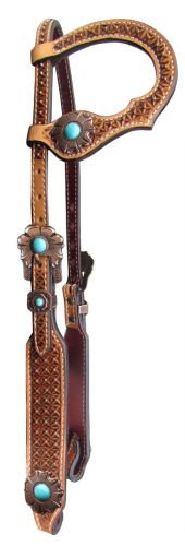Waffle Tooled Turquoise One Ear Leather Headstall