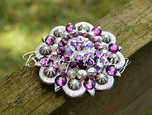 Antique Silver Round Berry Concho - Amethyst & Crystal AB
