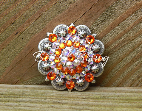 Antique Silver Round Berry Concho - Tangerine & Crystal AB