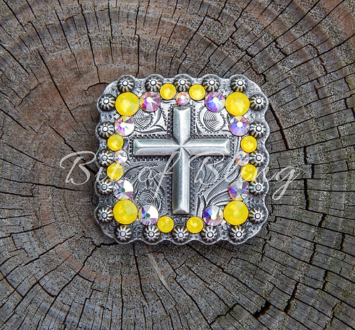 Antique Silver Square Berry Cross Concho - Yellow Opal & Crystal AB