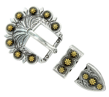 Antique Silver & Gold Berry 3pc Buckle