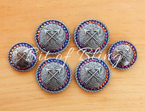 Antique Silver Round Rope Edge Arrows Saddle Concho Set - Blue Volcano